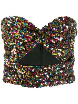 Sequinned Strapless Top - Attico