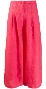 Wide Leg Cropped Trousers - 120% Lino