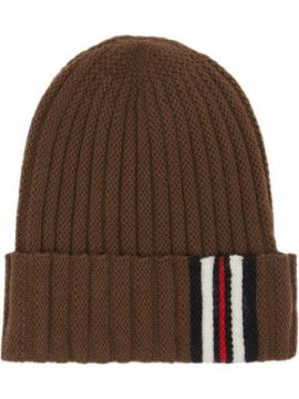 Brown Ribbed Stripe Wool Beanie Hat - Burberry