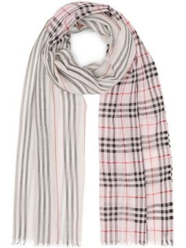 Icon Stripe And Vintage Check Wool Silk Scarf - Burberry