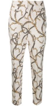 Chain Print Slim-fit Trousers - Cambio