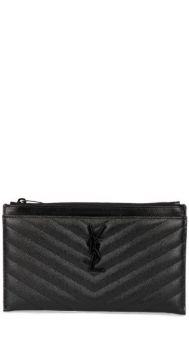 Calf Leather Monogrammed Textured Clutch - Saint Laurent