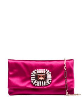 Pink Titania Satin Crystal Buckle Clutch Bag - Jimmy Choo