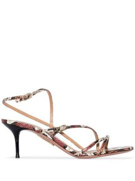 Carolyne 60mm Snakeskin-effect Sandals - Aquazzura