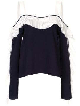 Pleated Cold Shoulder Top - Comme Moi