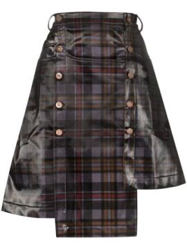 Asymmetric Checked Skirt - Delada