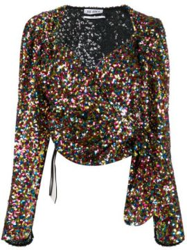 Sequinned Tie Front Blouse - Attico