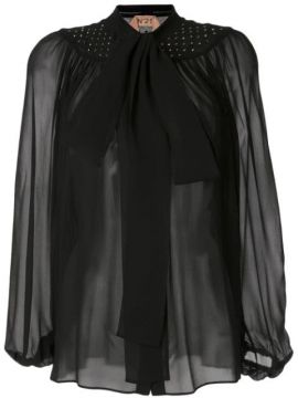 Sheer Effect Pussy Bow Blouse - Nº21