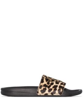 Brown And Black Iconic Leopard Print Slides - Apl