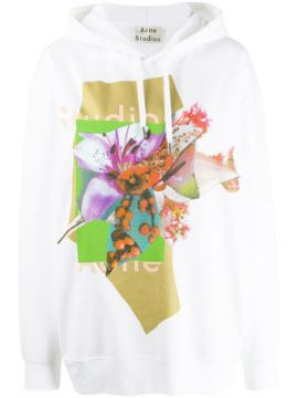 Logo And Floral Print Hooded Sweater - Acne Studios