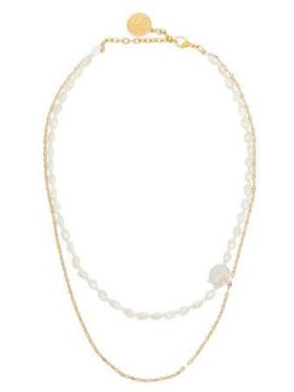 Double Chain Pearl Necklace - By Alona