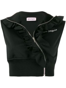 Cropped Ruffle Track Vest - Palm Angels