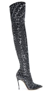 Leopard Print Over The Knee Boots - Casadei