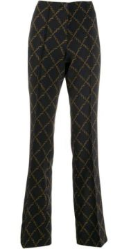 Chain Print Flared Trousers - Cambio