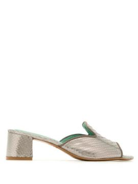 Mule Com Salto Python Metalizado - Blue Bird Shoes