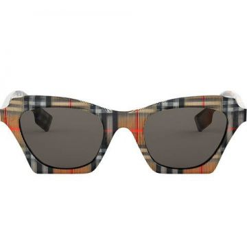 Checked Square Frame Sunglasses - Burberry Eyewear