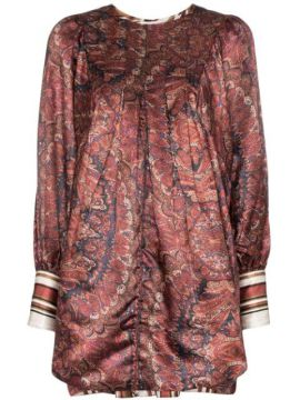 Vintage Paisley Print Satin Mini Dress - Bytimo
