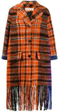 Plaid Fringe Coat - Marni