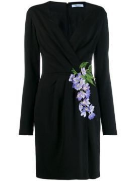 Floral-embroidered Wrap Dress - Blumarine