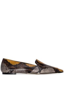 Aurora Snake-effect Flat Loafers - Aeyde