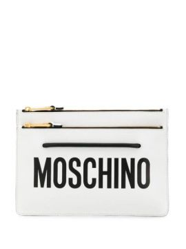 Logo Zipped Clutch - Moschino