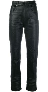 Waxed-effect High-waisted Trousers - Diesel Black Gold