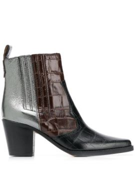 Contrast Ankle Boots - Ganni