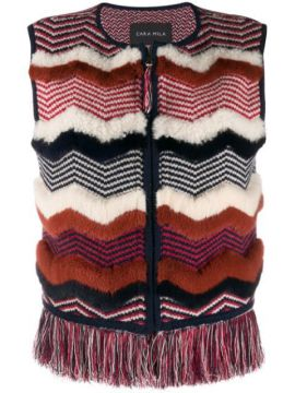 Nellie Knitted Shearling Gilet - Cara Mila