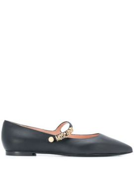 Pointed Leather Ballerinas - Moschino
