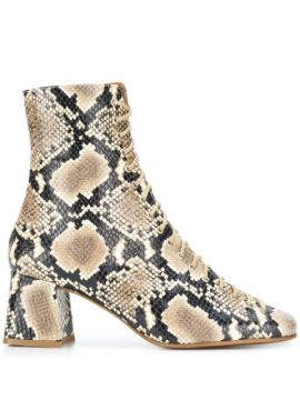 Snake Print Ankle Boots - By Far