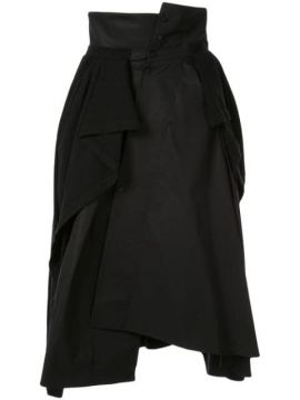 Jersey-panelled Asymmetric Skirt - Aganovich
