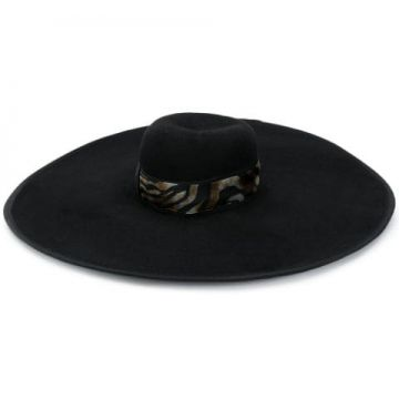 Animal Print Wide Brimmed Hat - Borsalino