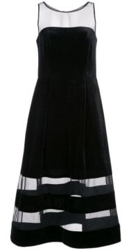 Sheer Stripes Dress - Aidan Mattox