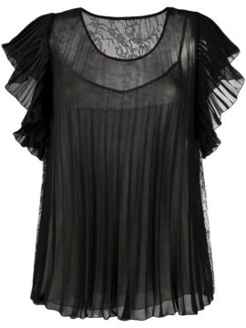 Contrast Pleated Blouse - Boutique Moschino