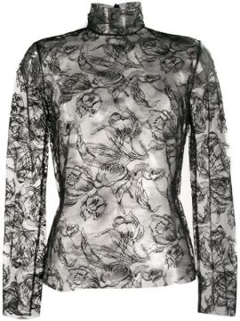 Lace-embroidered Sheer Top - Carmen March