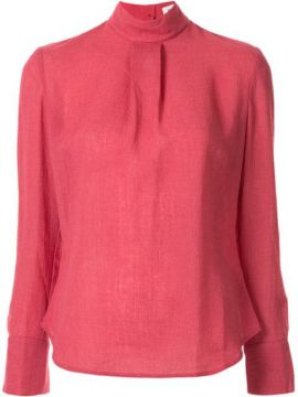 High Neck Plain Blouse - Cefinn
