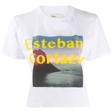 Printed Cropped T-shirt - Esteban Cortazar
