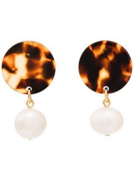 Brown And White Andreia Disc Pearl Earrings - Aym