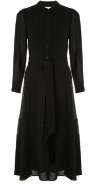 Long Sleeve Belted Shirt Dress - Cefinn