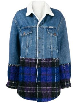 Plaid Panel Denim Coat - Forte Dei Marmi Couture