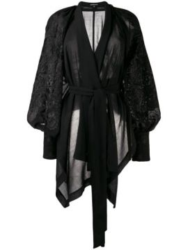Embroidered Wrap Top - Ann Demeulemeester