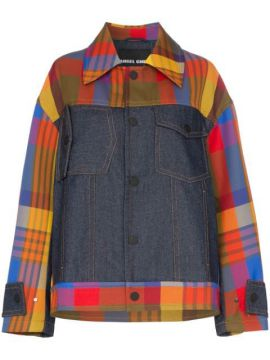 Panelled Checked Jacket - Angel Chen