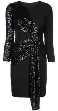 Sequinned Tie Front Dress - Aidan Mattox