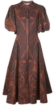 Printed Puff Sleeved Dress - Adam Lippes