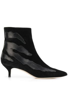 Snakeskin Effect Detail Boots - Gia Couture