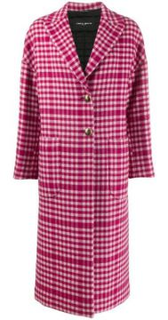 Gingham Check Patterned Boxy Coat - Frankie Morello