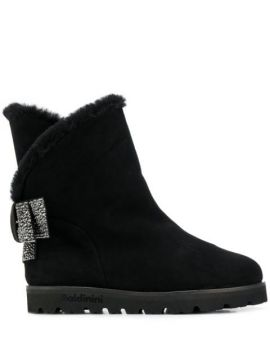 Crystal Embellished Suede Boots - Baldinini