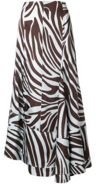 Zebra Print Asymmetric Flared Skirt - 3.1 Phillip Lim