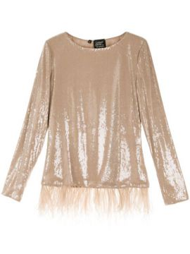 Feather-embellished Sequined Top - Alison Brett