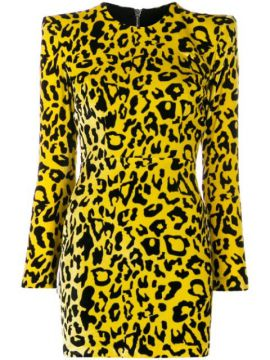 Velvet Leopard Print Dress - Alex Perry